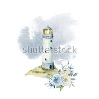 Fototapete Aquarellillustration mit einem Leuchtturm, Wolken und einem Blumenstrauß von Blumen