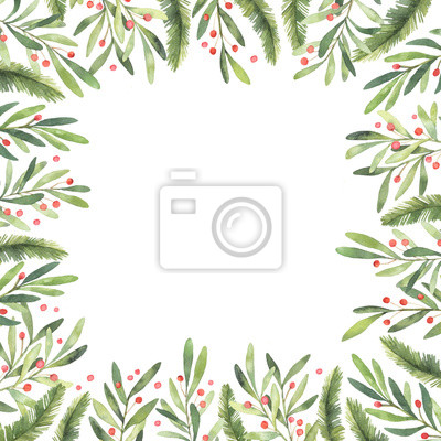 Frohe Weihnachten Rahmen.Fototapete Aquarellillustration Pre Made Weihnachten Rahmen Perfekt Fur