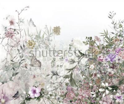 Fototapete Aquarellmalerei der Blätter und der Blume, auf weißem Hintergrund