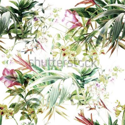 Fototapete Aquarellmalerei des Blattes und der Blumen, nahtloses Muster auf weißem Hintergrund