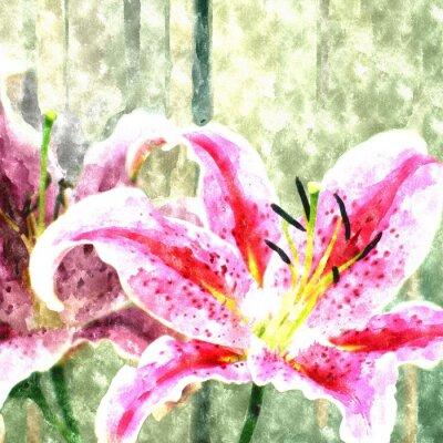 Aquarellmalerei Lilien- / Fotoeffekt-Aquarell