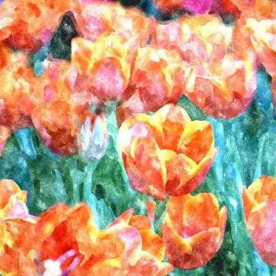 Aquarellmalerei Tulpe- / Fotoeffekt-Aquarell