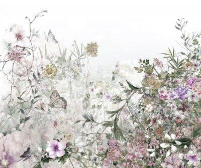Fototapete Aquarellmalerei von Blättern und von Blume, auf weißem Hintergrund