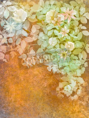 Aquarellmalerei weiße blumen und weiche grüne blätter. gelb-braune ...