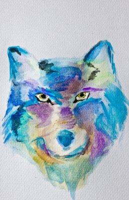 Fototapete Aquarellmalerei Wolf auf weißem Album Hintergrund. Nasse Technik. Blaue lila Schattierungen. Moderne Kunst. Freizeit.