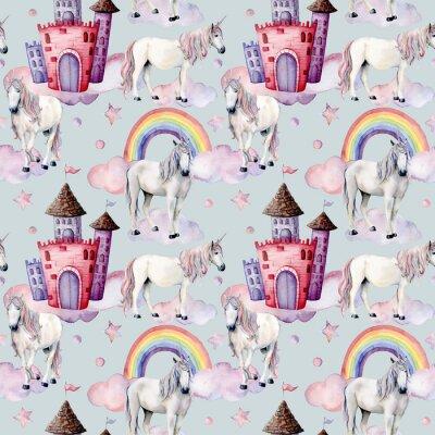 Fototapete Aquarellmuster mit Einhörnern und Märchendekor.  Handgemalte magische Pferde, Burg, Regenbogen, Wolken, Sterne lokalisiert auf weißem Hintergrund.  Nette Tapete für Design, Druck oder Hintergrund.
