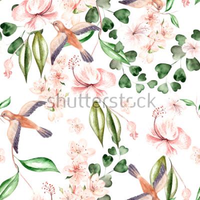 Fototapete Aquarellmuster mit Frühlingsblumen, Eukalyptusblättern und Vögeln. Illustration