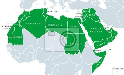 Arabische Welt Stellt Politische Karte Mit Orangefarbenen 22