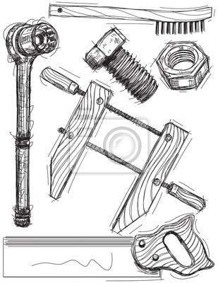 Arbeit Werkzeug Skizzen