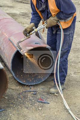 Arbeiter Schneiden Metall Mit Flamme Fackel Fototapete Fototapeten