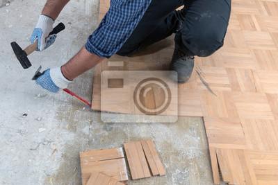 Arbeitskraft Entfernt Altes Parkett Fototapete Fototapeten