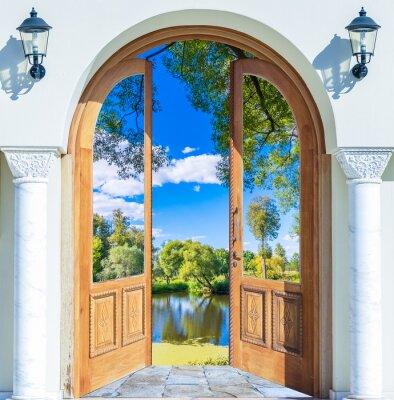 Fototapete Arch door open pond