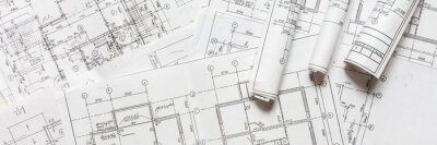 Fototapete architect design working drawing sketch plans blueprints and making architectural construction model in architect studio,flat lay.