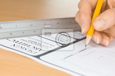 Architekt zeichnung pläne von ruler fototapete • fototapeten ...