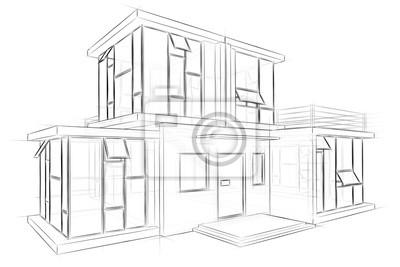 Architektonische Skizze Zeichnung Haus Fototapete