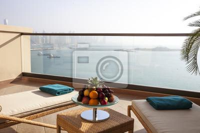 Fantastisch Fototapete Architektur, Schöne Terrasse Mit Zwei Sonnenliegen, Meerblick