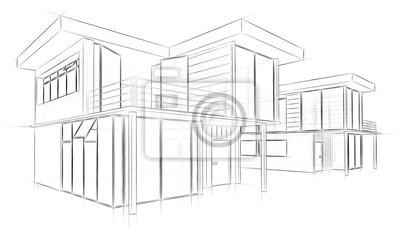 Fototapete Architektur Skizze Zeichnung Haus
