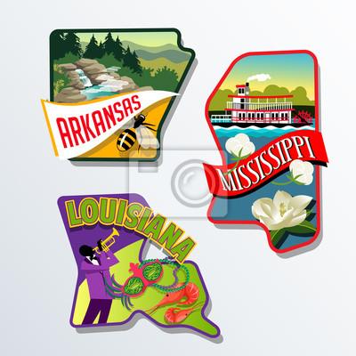Arkansas Louisiana Mississippi Gepäck-Designs