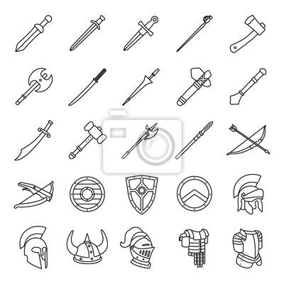 Arme und rüstungen umreißt vektor-icons fototapete • fototapeten ...