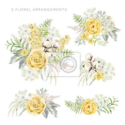 Arrangements With Yellow Flowers On The White Background Rose