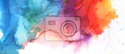 Fototapete Art Abstract paint blots background. Alcohol ink blue colors. Marble texture. Horizontal long banner.