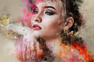 Fototapete Art colorful sketched beautiful abstract girl face portrait on colored background in Digital watercolour mixed media style word fashion style model