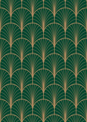Fototapete Art Deco geometrisches nahtloses Vektormuster. Gold und grüne Pfauzusammenfassung versieht Beschaffenheit mit Federn.