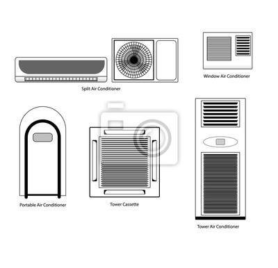 Arten von klimaanlagen symbole gesetzt vektor lager. fototapete ...