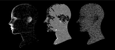 Fototapete Artificial intelligence and Machine Learning concept. Human head with glitched pixels, distorted profile of a woman made of square particles.