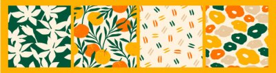 Fototapete Artistic seamless pattern with abstract flowers and oranges.