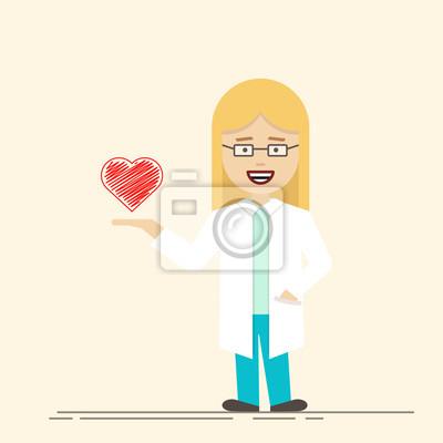 Ärztin oder krankenschwester mit herz in der hand. medizinarbeiter ...