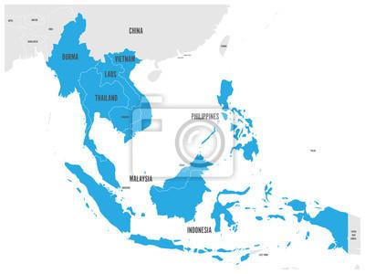 Fototapete ASEAN Wirtschaftsgemeinschaft, AEC, Karte. Graue Karte mit blau hervorgehobenen Mitgliedsländern, Südostasien. Vektor-Illustration.