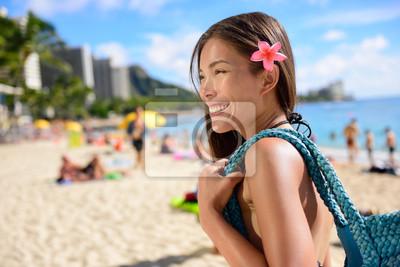 Asian Touristische Frau Am Strand Von Waikiki Hawaii Usa