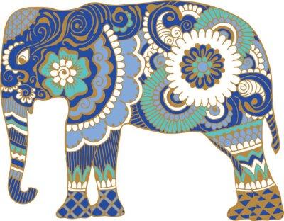 Fototapete Asiatischer Elefant mit Mustern