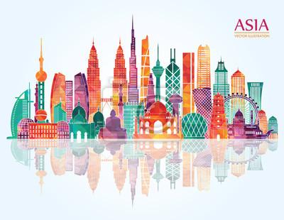 Fototapete Asien detaillierte Skyline. Abbildung