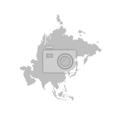Fototapete Asien-Karte in grau auf weißem Hintergrund