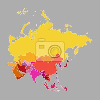 Stumme Karte Asien Lander Hauptstadte.Fototapete Asien Karte Von Multi Color Mit Landern Und Hauptstadte Auf Grauem