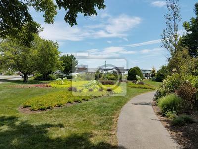 Fototapete Asphaltweg Im Garten Und Pflanzen Mit Großen Blättern