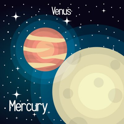 Fototapete Astronomie Quecksilber-System Solar-Planeten isoliert Vektor-Illustration eps 10