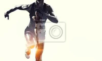 Fototapete Athlete woman on white. Mixed media