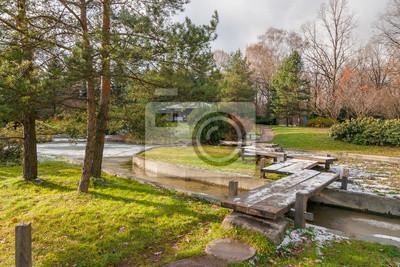 Atumn Japanischen Garten Mit Einer Holzbrücke Teich Und Pavillon