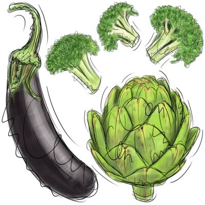Auberginen, Artischocken und Brokkoli