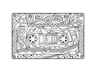 Audio-Kassette Ausmalbilder für Erwachsene Vektor