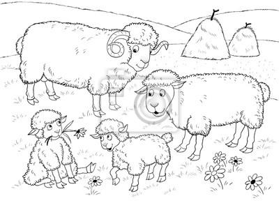 Auf Dem Bauernhof Familie Der Niedlichen Schafe Illustration