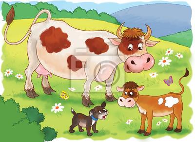 Auf Dem Bauernhof Nette Mutter Kuh Ihr Kalb Und Ein Welpe