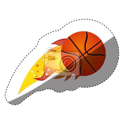 Aufkleber bunte olympische Flamme mit Basketball-Kugel Vektor-Illustration