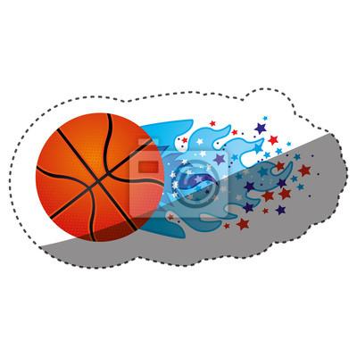 Aufkleber bunte olympische Flamme mit Sternen und Basketball Ball Vektor-Illustration
