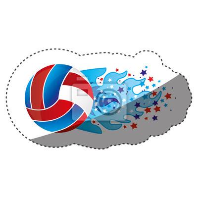 Aufkleber bunte olympische Flamme mit Sternen und Volleyball Ball Vektor-Illustration