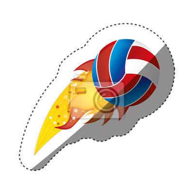 Aufkleber bunte olympische Flamme mit Volleyball Ball Vektor-Illustration