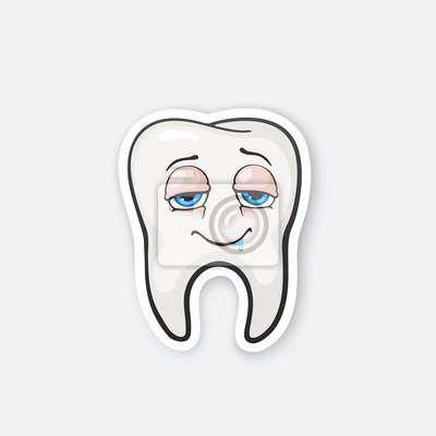 Aufkleber Glücklicher Betrunkener Zahn Mit Augen Fototapete